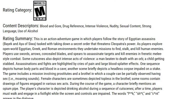 Deskripsi ESRB untuk Assassin's Creed Origins mengindikasikan wilayah lain selain Mesir. Di sana tertulis aksi Bayek di Yunani dan Romawi.