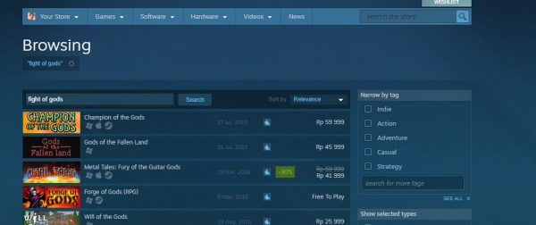 Indonesia sudah memblokir Fight of Gods. Anda tidak akan bisa lagi mencari dan membeli game ini.