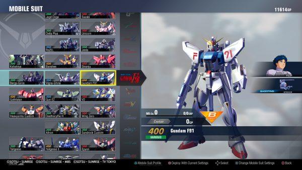 90 lebih Gundam dari 17 seri berbeda.