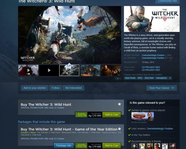 Hanya sampai tanggal 23 Oktober 2017 mendatang, The Witcher 3 mendapatkan potongan harga 60%.