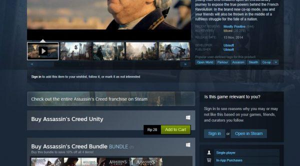 Price Bug Assassin S Creed Unity Di Steam Hanya 28 Rupiah