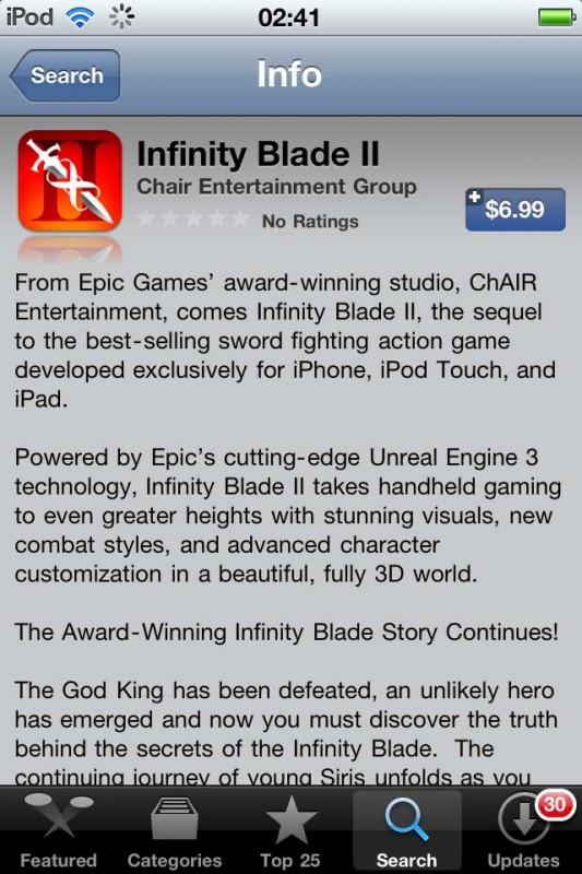 infinity blade ii app store