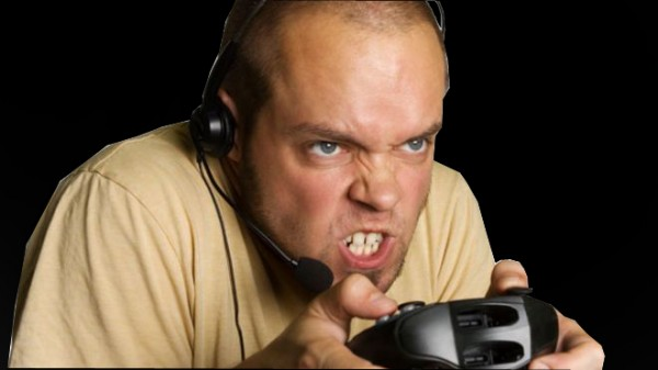 intense angry video gamer