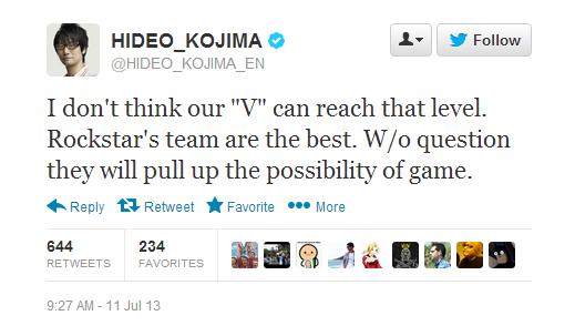 Wow! Trailer GTA V bahkan cukup untuk mengangkat bendera putih. Kojima ragu MGS V akan mampu menandingi game andalan dari Rockstar ini.