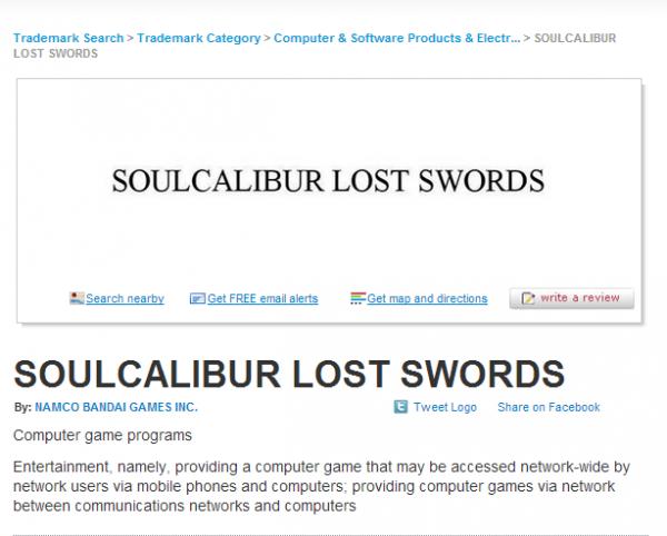 Namco Bandai mendaftarkan merk dagang baru - Soul Calibur: Lost Swords. Apakah ini mengindasikan kehadiran seri next-gen?