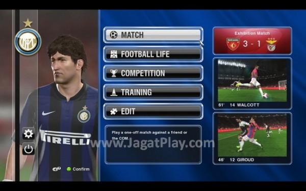 Menu utama dari PES 2014. Berbeda struktur dari menu utama yang ada di beberapa edisi terakhir seri Pro Evolution Soccer.