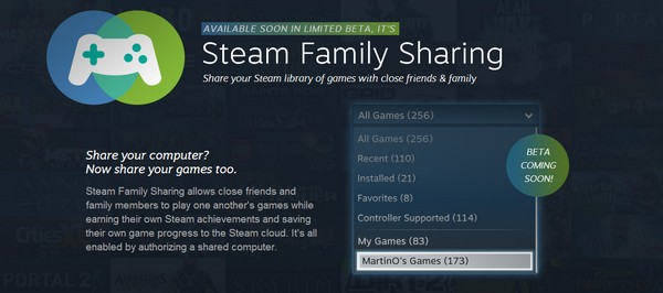 Valve meluncurkan masa beta untuk fitur baru - Steam Family Sharing, yang memungkinkan Anda untuk berbagi library game Anda dengan user Steam lain. Sistemnya tak berbeda dengan sistem pinjam-meminjam disc fisik.
