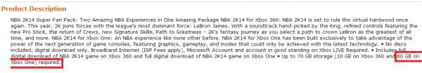 Detail produk dari Amazon ini menuliskan bagaimana NBA 2K14 membutuhkan kapasitas ruang instalasi enam kali lipat, bahkan daripada versi PC sekalipun.