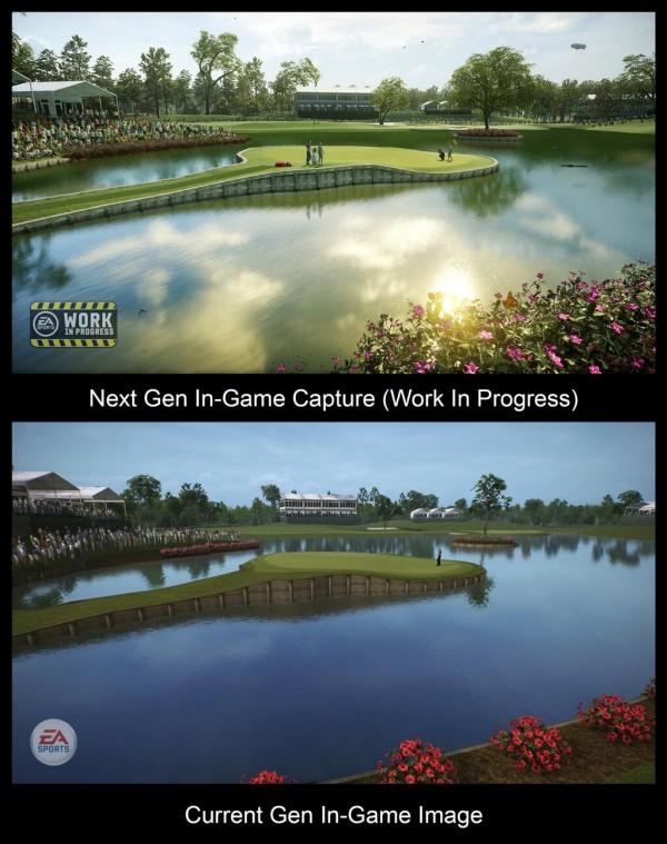 Selain mengumumkan berakhirnya kerjasama 16 tahun EA Sports dan Tiger Woods, EA juga merilis sebuah screenshot yang membandingkna kualitas in-game engine next gen dan current-gen.