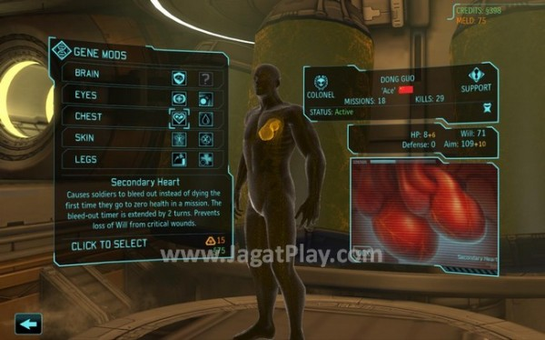 Berbagai pilihan implan genetik yang tersedia. Implan baru bisa didapatkan dari otopsi alien yang kita jumpai di medan pertempuran.