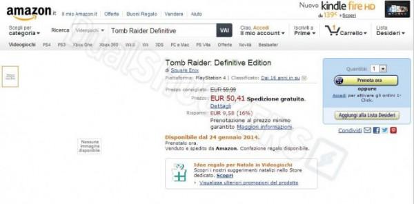 Informasi dari Amazon Italia inilah yang menjadi sumber rumor. Tomb Raider: Definitive Edition mengindikasikan rilis ulang Tomb Raider reboot untuk platform next-gen.
