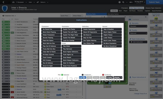 Anda akan lebih banyak menjumpai layar ini untuk mengatur taktik sebelum atau saat pertandingan.