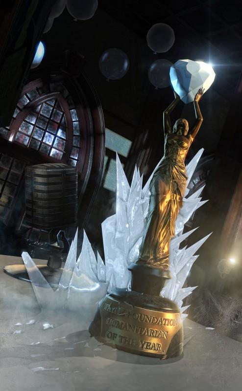 Dalam gambar yang diposting di Facebook Batman Arkham tersebut terlihat trophy Wayne Foundation Humanitarian of the Year diselimuti es.