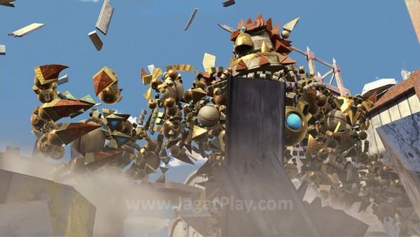 Knack to the rescue! Dengan kemampuannya untuk menyerap relic dan tumbuh sebesar mungkin, Knack menjadi senjata utama untuk menghancurkan para goblin.