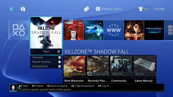 User-interface Playstation 4 terbagi ke dalam dua bagian besar - yang berhubungan dengan game dan yang tidak.