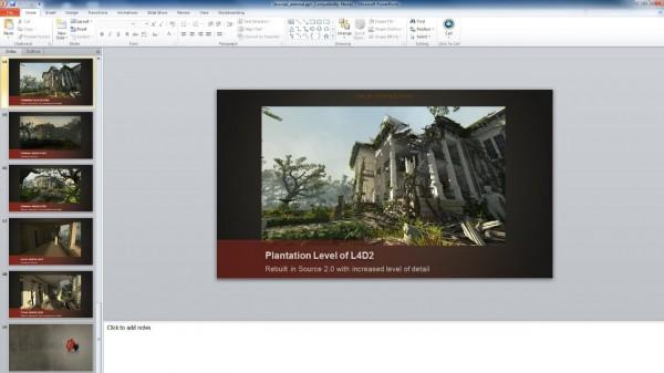 Slide presentasi yang bocor memperlihatkan Left 4 Dead 2 dengan menggunakan engine Source 2.0.