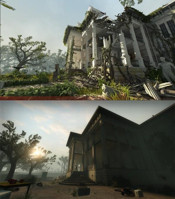 Perbedaan visualisasi antara Left 4 Dead 2 original dan versi remake.