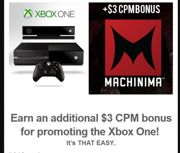 Dengan menyuntikkan video gameplay Xbox One selama 30 detik, menuliskan tag XB1M13, dan tidak menyebut apapun yang negatif soal Xbox One dan Machinima, Youtuber berkesempatan mendapatkan ekstra USD 3 / 1.000 view.