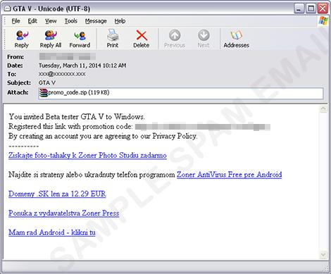 Email seperti inilah yang kabarnya tengah merebak di dunia maya. GTA V PC beta? Alih-alih mendapatkan game tersebut, Anda justru harus berhadapan dengan virus yang menyebalkan. Be smart!