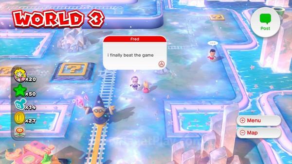 Anda bisa bertemu dengan Mii user lain yang tengah berada di dunia Super Mario World ini, melihat post yang mereka lemparkan, dan memberikan komen atau Like.
