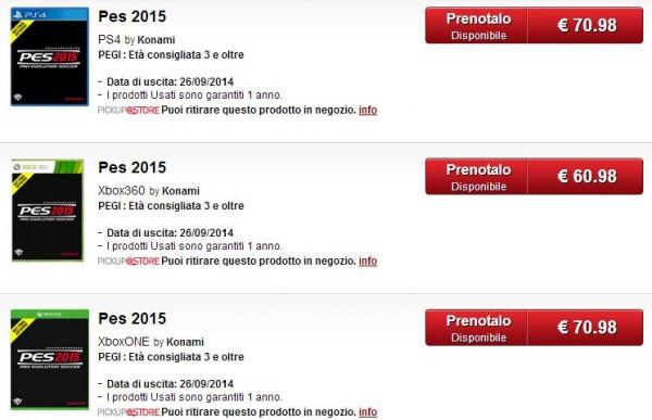 Halaman produk dari Gamestop Italia inilah yang mengindikasikan rilis PES 2015 pada September 2014 mendatang.