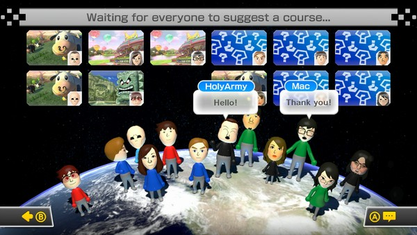 Mii para gamer yang berada di room yang sama bisa saling berinteraksi lewat pilihan respon yang terbatas. Di sini juga, Anda diminta untuk memilih track yang akan dipertandingkan.