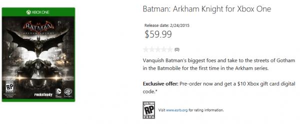 Toko online resmi Microsoft tidak sengaja membocorkan rilis Batman: Arkham Knight. Game ini disinyalir akan dirilis pada 24 Februari 2015 mendatang.