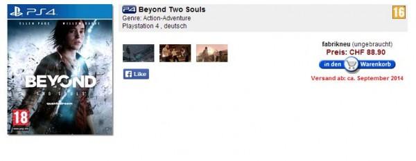 Beyond Two Souls versi PS 4 akan dirilis pada September 2014 mendatang? Setidaknya beberapa situs retailer Eropa menuliskan hal tersebut.