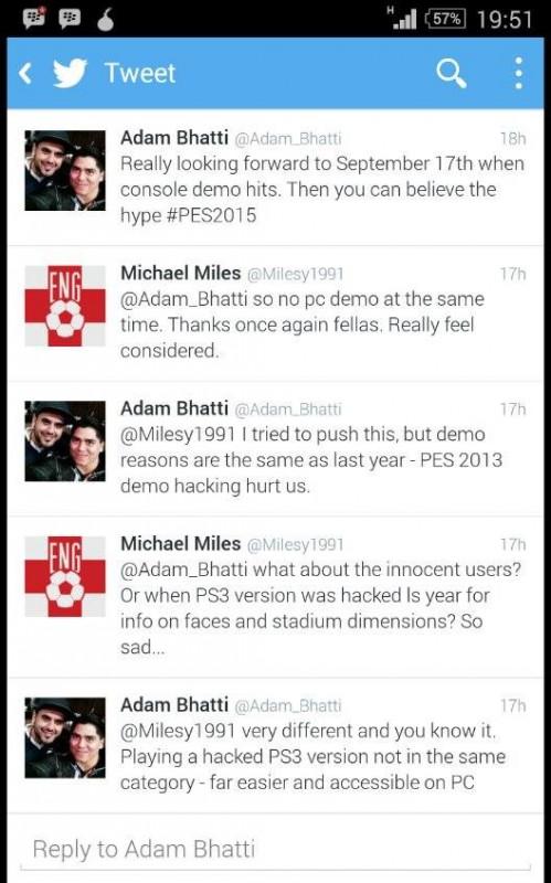PES 2015 versi PC juga dipastikan tidak akan mendapatkan versi demo, layaknya konsol. Alasannya? Konami masih trauma dengan masalah hacking di PES 2013 yang lalu.