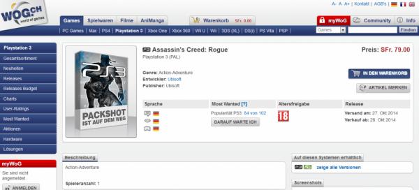 Situs retailer Swiss memajang produk bernama Assassin's Creed: Rogue di list mereka. Nama baru dari AC: Comet yang selama ini dirumorkan? Ubisoft sendiri masih tutup mulut.