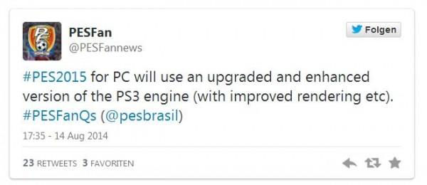 PES 2015 versi PC dipastikan tidak akan hadir dengan engine sama yang digunakan di versi PS 4/ Xbox One. Konami justru menggunakan engine lawas PS 3 yang