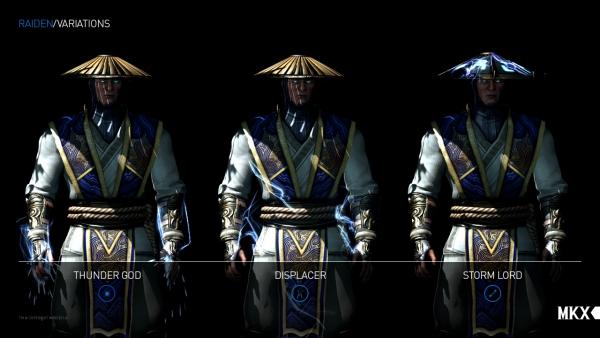 Mortal Kombat X perkenalkan tiga variasi Raiden: Storm Lord, Thunder God, dan Displacer yang masing-masing hadir dengan skill unik.