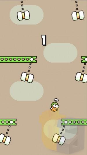 Swing Copters sendiri mengusung gameplay ala Flappy Bird tapi bergerak vertikal ke atas.