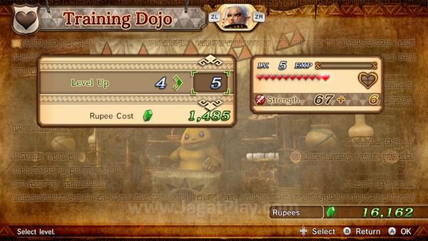 Rupees juga bisa digunakan untuk menaikkan level karakter Anda secara instan, mengikuti level tertinggi sementara ini.
