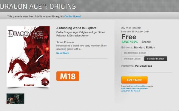 Dragon Age: Origins kini bisa Anda dapatkan secara cuma-cuma! Ingat, Anda harus meng-klaim game ini sebelum 14 Oktober!