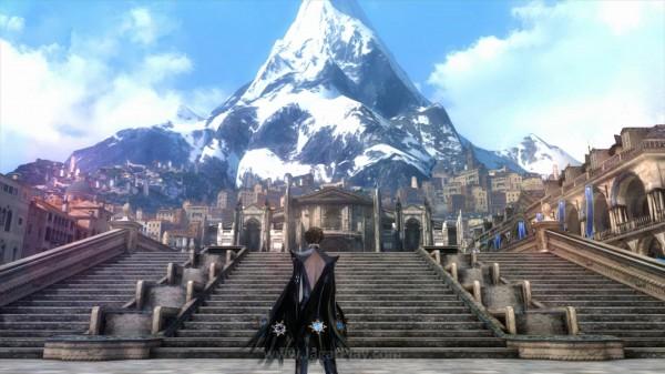 Berniat untuk pergi ke neraka dan membawa kembali Jeanne, Bayonetta 2 menuju Gunung