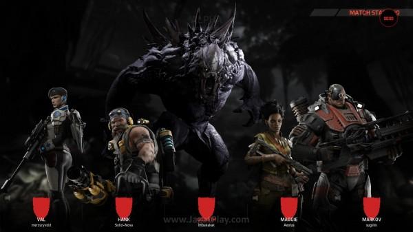 4 vs 1 - 4 orang yang berperan sebagai satu tim Hunters dan 1 orang ekstra sebagai monster - sang musuh utama, inilah pengalaman utaman yang ingin ditawarkan ole Evolve.