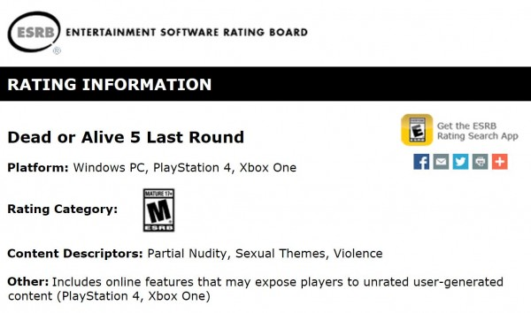 Setelah masuk ke dalam list pre-order yang dibuka oleh Play-Asia, kini giliran ESRB yang menuliskan PC sebagai salah satu platform rilis DOA 5: Last Round.