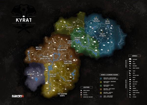 Beginilah luas peta Kyrat yang bisa Anda jelajahi di Far Cry 4 nanti.
