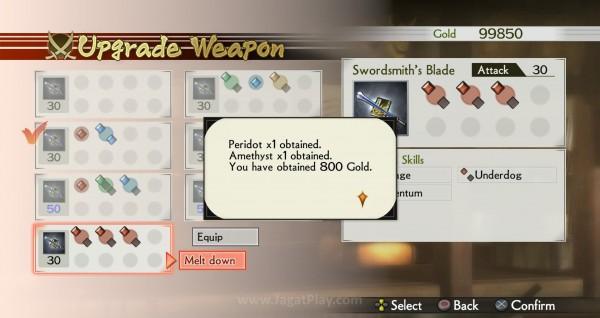 Senjata yang tidak digunakan dapat dilebur menjadi uang dan permata untuk meningkatkan kemampuan senjata lain.