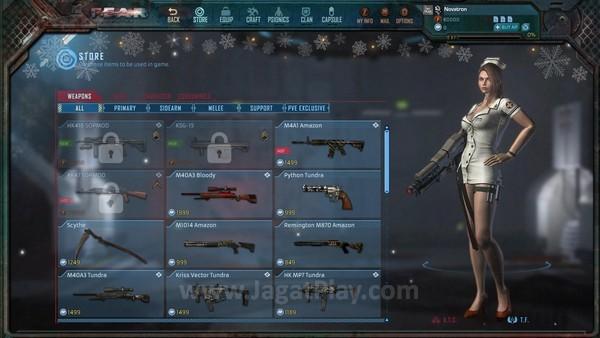 Senjata dan karakter yang kuat dapat dibeli dengan point cash