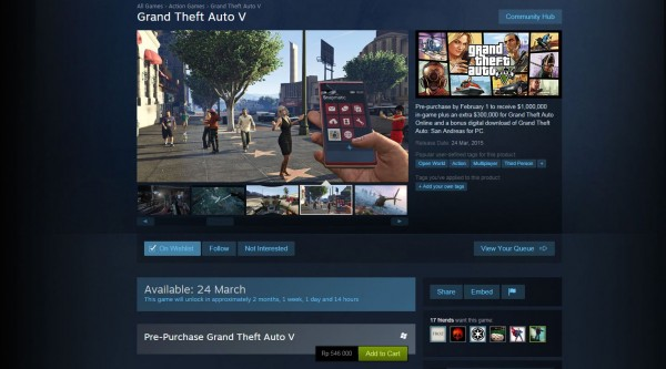 Proses pre-order GTA V via Steam sudah dibuka, dengan patokan harga 549.000 Rupiah!