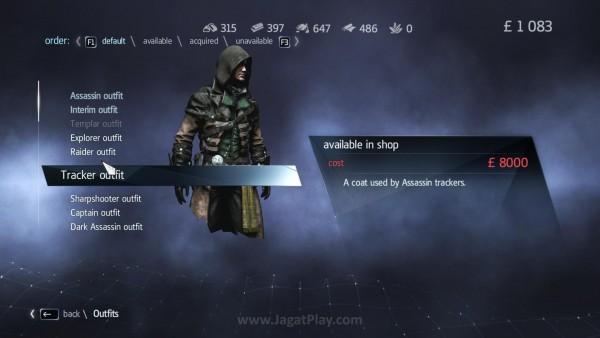 Banyak variasi kostum yang bisa Anda gunakan sambil bertualang di dunia Assassin's Creed Rogue
