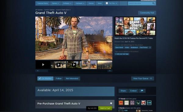 Banyak toko game original di Indonesia mulai buka harga untuk GTA V versi PC, digital maupun fisik.