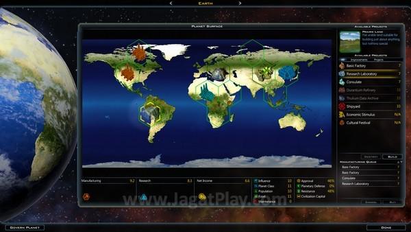 Tanah yang bisa digarap di planet terbatas, tergantung pada kelas planet itu sendiri