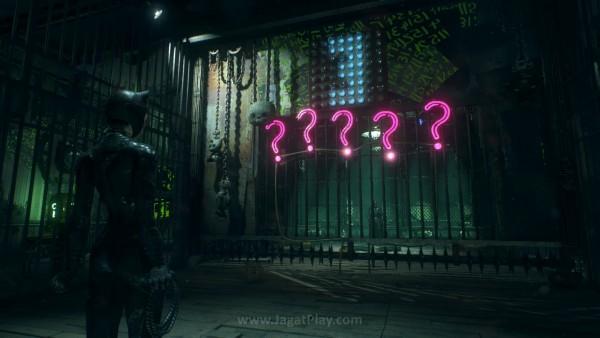 Sidequest dari Riddler ketika Anda berusaha menyelamatkan Catwoman mungkin satu-satunya yang dibangun niat dan kreatif.
