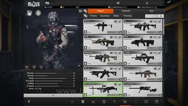 Beragam jenis perlengkapan perang dapat ditemukan di toko