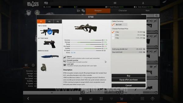 Setiap senjata memiliki statistik dan durasi penggunaan ketika dibeli di toko