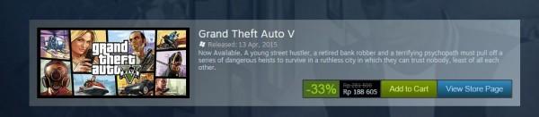 Di beberapa menit awal Summer Sale, bug harga terjadi dan GTA V PC sempat mencapai harga hanya Rp 180.000,- saja. Kesempatan mendapatkannya memang sudah kandas, namun Anda bisa mencari re-seller ternama di media sosial yang mungkin, sempat