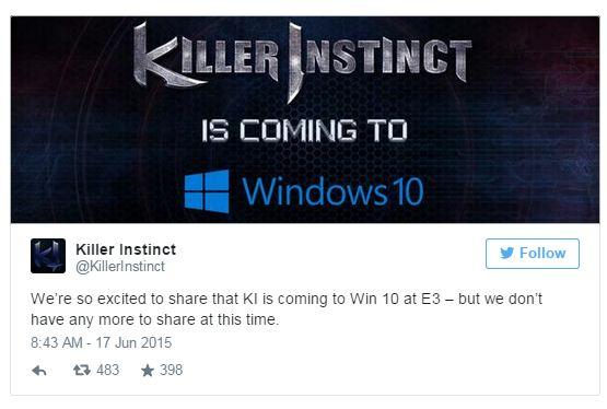 Dirilis untuk PC, Killer Instinct juga akan mendukung fitur cross play dengan gamer Xbox One.